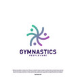 fun people healthy logo design concept gymnastics vector image vector image