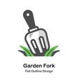 garden fork outline flat vector image vector image