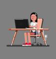 girl hacker in work vector image vector image