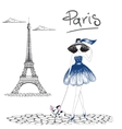 Girl walking with french bulldog in the Paris vector image
