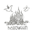 Halloween Haunted House doodles vector image vector image