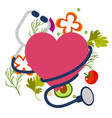 healthy stethoscope icon with heart image vector image vector image