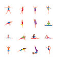 kids gymnastic flat icons set vector image