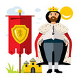 king flat style colorful cartoon vector image vector image