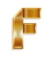 Letter metal gold ribbon - F vector image vector image