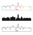 lille skyline linear style with rainbow vector image vector image