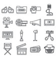modern film production icons set outline style vector image