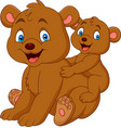mother and baby bear cartoon vector image vector image