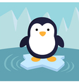 Penguin in Ice Theme Background vector image vector image