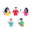 people using smartphones flat set vector image