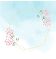 pink flower wreath with golden frame on blue water vector image
