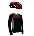 Red bicycle helmet and shirt vector image vector image