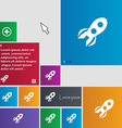 Rocket icon sign buttons Modern interface website vector image