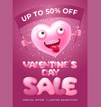 sale at valentines day banner with funny heart vector image