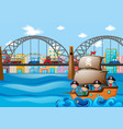 scene with cars on bridge and kids on ship vector image