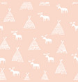 seamless pattern with deers hand drawing vector image vector image