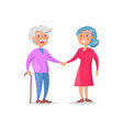 senior couple walk together grandma and grandpa vector image vector image