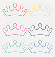 set of princess crowns isolated on white vector image vector image