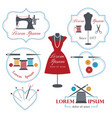 set tailor labels badges and emblems tailor vector image