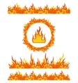 Simple fire border patterns and round frame Flame vector image vector image