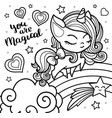 sketch a unicorn for coloring on a white vector image