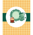 tea pot set with cupcake vector image vector image