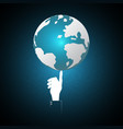 technology businessman hand point world globe vector image vector image