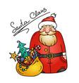 holiday with santa and bag of gifts vector image