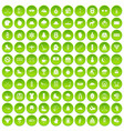 100 winter holidays icons set green circle vector image vector image