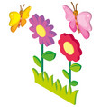 3d design for butterflies and flowers vector image vector image