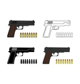 9mm pistols set with bullets vector image