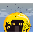 A haunted house and the bright full moon vector image