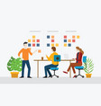 agile team working together with stick notes vector image