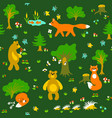 Animals in forest seamless pattern
