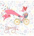 bicycle with a basket full flowers vector image vector image