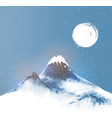 big blue mountain in snow and night winter sky vector image