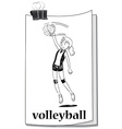 Card with girl playing volleyball vector image vector image