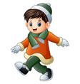 cartoon boy in winter clothes walking vector image vector image