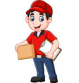 cartoon delivery courier holding clipboard and car vector image vector image
