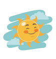 cheerful cartoon sun close eyes facial expression vector image