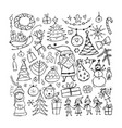 christmas set sketch for your design vector image vector image