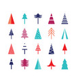 christmas tree icon set for web vector image vector image