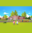 couple pupils hold hands school building yard vector image vector image