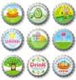 Easter bottle caps vector image
