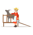 farmer woman milking her goat farming and vector image vector image