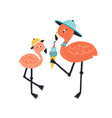 funny cartoon mother and child flamingo eating ice vector image