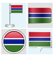Gambia flag - sticker button label flagstaff vector image vector image