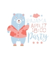 Girly Pajama Party Invitation Card Template With vector image vector image
