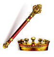 golden scepter and crown for king or queen vector image