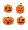 halloween pumpkins in with set of different vector image